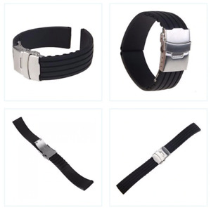 Silicone Watch Strap Diver Strap Stainless Steel Clasp Waterproof 24MM