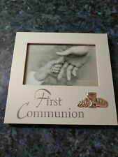 Holy Communion Picture Frame gift ivory and silver 15x10 6x4 space 7 inch 18 cm