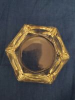 Vintage Thick Clear Glass Ashtray 6 Sided / 6 Slots Excellent Condition