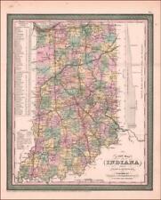 INDIANA, Antique Cowperthwait Map, Original 1850