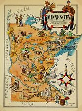 Minnesota Antique Vintage Pictorial Map