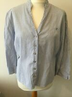 Viyella shirt Blouse cotton pin stripe blue & white size 18