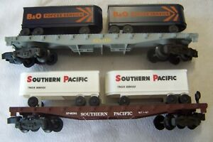 LIONEL TWO FLAT CARS WITH TRAILERS SP 6-48501 & B&O 4-9000 NEW