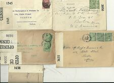 1917/19  5 x DIFF OPENED BY CENSOR COVERS TO USA DURING WW1