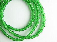 Czech Firepolish 3mm Seed Beads Emerald Green (16 inch - approx 130 beads)