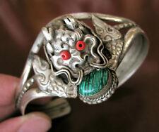 Superbe Argent Tibétain Antique Dragon Bracelet Femmes Cadeau Anniversaire Noël