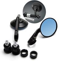 "2pc 7/8"" Motorcycle HandleBar End Rearview Mirrors Round Chrome Black Anti-glare"