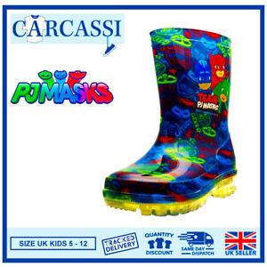 Boys PJ Masks Wellies Kids Blue Light Up Wellington Rain Snow Boots Size 5