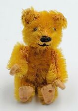 Schuco Picculo Miniature Jointed Blonde Mohair Teddy Bear w/ Felt Pads 2-1/2""