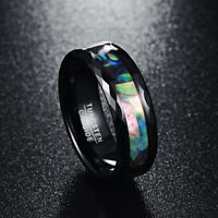 8mm Abalone Shell & Polished Black Faceted Tungsten Carbide Men's Wedding Rings