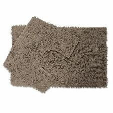 2 Piece Chenille Cotton Bath Mat and Pedestal Set with Anti Slip Back - Taupe