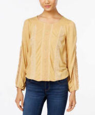 Style & Co Women's Petite Mixed-Print Peasant Top Color Meadow Mango SZ M NWT