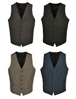 TW1 Brown Green Navy Blue Mens Wool Tweed Slim Fit Vest Waistcoat