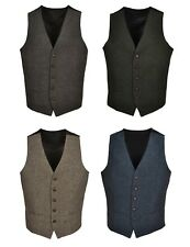 T1* Brown Green Navy Blue Mens Wool Tweed Slim Fit Vest Waistcoat