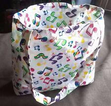 Tote Bag Handmade LISA FRANK Music Notes Fabric Pockets Shopping Tote Sewing NEW