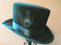 """GREEN VELVET TOP HAT-PEACOCK FEATHER-SATIN BAND-M/L 22.5-23"""" or 7 1/4-7 3/8"""