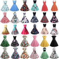Women Vintage Swing Pinup 50S 60S Swing Housewife Evening Party Dress Prom Gown