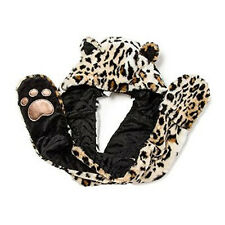 Faux Fur LEOPARD Hooded SCARF Mittens Plush Neckwarmer CRITTER Snood NEW!