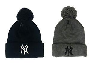 NWT Unisex New York NY Yankees Winter Cuff Pom Pom Beanie Black Grey One Size