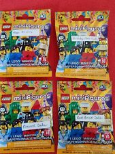 (4)Lego Minifigures Series 18,FLOWER POT,BIRTHDAY CAKE,FIREWORK & RED BRICK DUDE