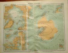 1923 MAP ~ POLAR REGIONS ARCTIC ANTARTICA GREENLAND GRAHAM LAND VICTORIA