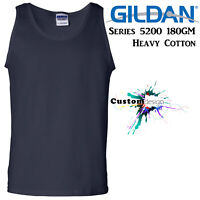 Gildan Navy Blue Basic Tank Top Singlet Shirt S-3XL Men's Heavy Cotton