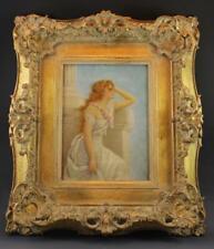 19C Pre-Raphaelite Figural Portrait Painting Young Woman in Contemplation