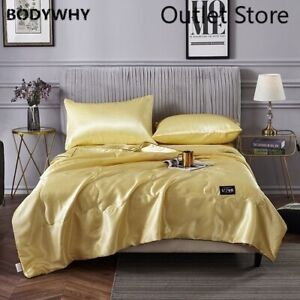Quilt Blanket Silk Air Contationer Comforter Satin Bed Covers and Bedspreads
