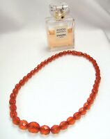Natural Cognac Baltic Amber Necklace Faceted Olives Beads 24 gr. Russian Vintage