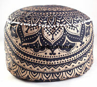 Indian Gold & Black Ombre Mandala Ottoman Pouffe Footstool Pouf Round Seat Cover