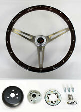 "64-66 Impala Bel Air High Gloss Wood Steering Wheel Rivets Tilt 15"" Red/Blk cap"