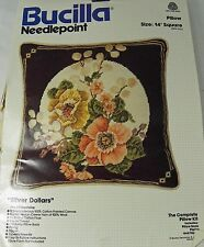 "Bucilla Needlepoint Kit Silver Dollars Floral 14"" Pillow Wool Vintage 4304 HTF"