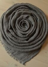 "SOFT 100% LINEN Flax Dark Gray Lightweight Women Men SCARF 19"" x 75"" Made in EU"