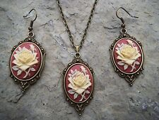CREAM / RED / MAROON ROSE CAMEO NECKLACE AND EARRINGS SET- BRONZE, GIFTS, XMAS