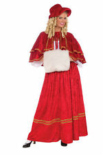 Christmas Caroller Costume Women Dickens Victorian Shawl Muff Women Red Hat Std