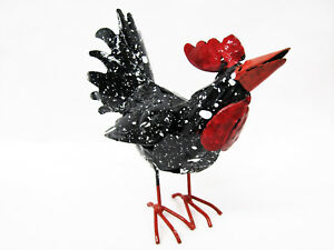 "Cute Primitive Folkart 5"" Tall Metal Rooster Black Chicken Yard Art Barn Farm"