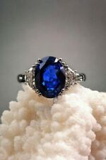 3Ct Oval Cut Blue Sapphire Simulnt Diamond Engagement Ring White Gold Fns Silver