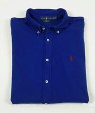 Polo Ralph Lauren Mens SLIM Featherweight Mesh Blue Long Sleeve Button Shirt XL
