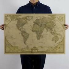 Retro Vintage Globe Old World Map Matte Brown Paper Poster Home Decor TR