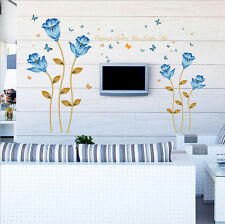 Blue Flower Butterfly Removable Decal Wall Sticker Mural Art Room Home Decor 03