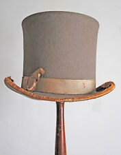 ANTIQUE MEN's TOP HAT GREY WOOL FELT HIGH TOP HAT 1880's MUSEUM DE-ACCESSION