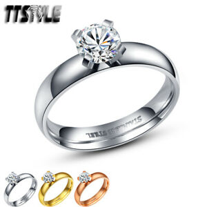 TTstyle 4mm Stainless Steel Engagement Wedding Band Ring Three Colour Available