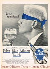 1950s Pabst Blue Ribbon Beer Grey Haired Guy With Blindfold 14 inch Paper Ad