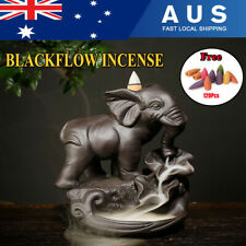 Elephant Backflow Incense Burner Waterfall Ceramic Porcelain Holder + 120 Cones