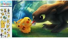 Pokémon Pikachu and Train Your Dragon Friends Mousepad with 3-D Stickers, MP371