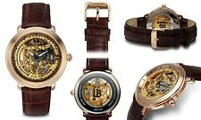 NEW Louis Bolle LB91408 Men's Mechanical Rose Gold Skeleton Brown Leather Watch