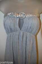 Sky Clothing Brand XS Dress Leather Belted Gray Silver Keyhole Spring Party EUC