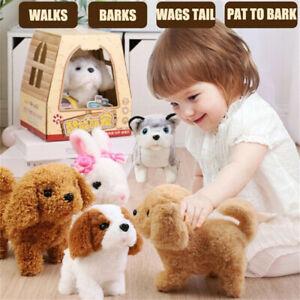 Electronic Robot Dog Barking Walking Wagging Tail Interactive Plush Toy Kid Gift