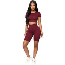 Women's Fashion Casual Sports Bandage Two Pieces Crop Top Short Pants Set Solid