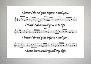 Savage Garden - I Knew I Loved You - Song Sheet Print Poster Art